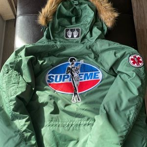 Supreme HYSTERIC GLAMOUR N-3B Parka - Work Green - Small - FW17 - With Tags